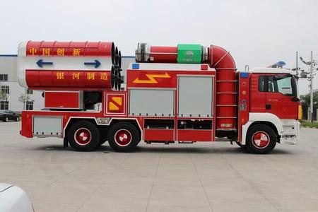 (排烟消防车图片)         排烟消防车结构:车上主要装备风机,导风管